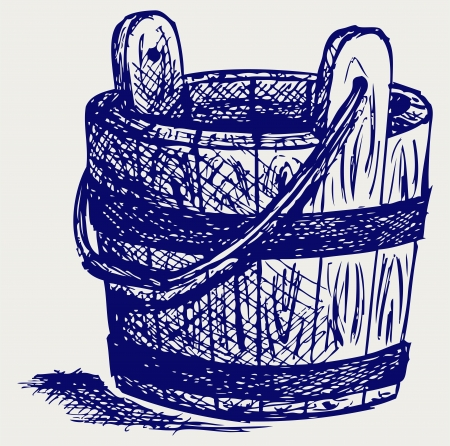 Wooden bucket. Doodle style