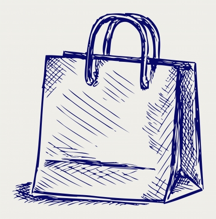 graffiti brown: Bolsa de papel. Estilo Doodle Vectores