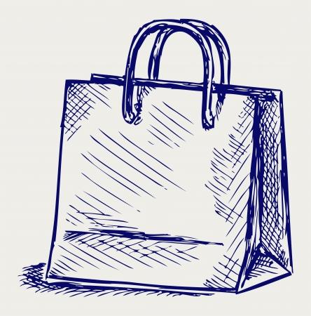 bag cartoon: Paper bag. Doodle style