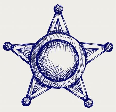 sheriff badge: Sheriff badge. Doodle style