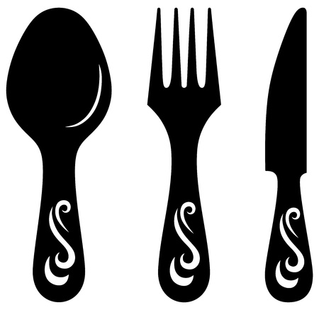 stainless steel kitchen: Knife, fork and spoon. Vector Illustration