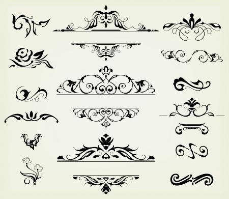 ozdobně: kaligrafické prvky a stránky dekorace - spousta prvky na tomto rozložení Ilustrace