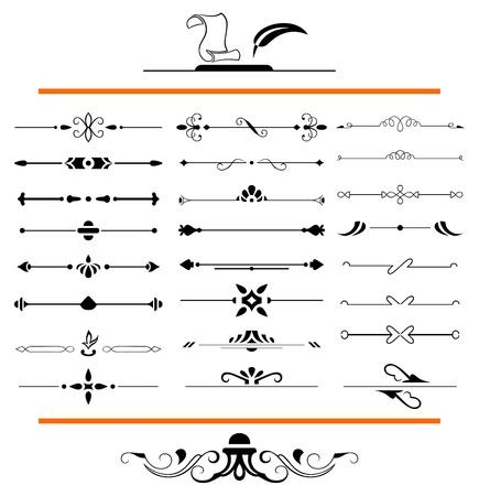 page decoration: kalligrafische ontwerpelementen en pagina decoratie - veel elementen aan uw lay-out te verfraaien