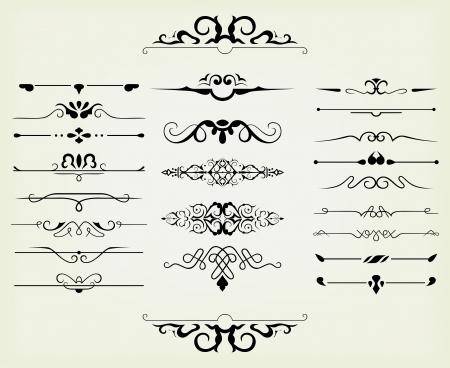 règle: �l�ments de design et de d�coration calligraphiques page - �l�ments beaucoup pour embellir votre mise en page Illustration