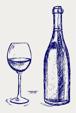 Glass of wine and a bottle.  Vector
