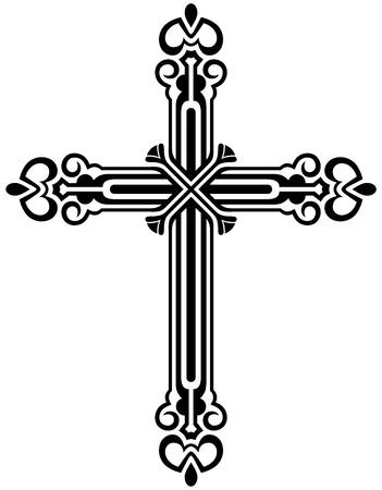 j�sus croix: Religieuse collection dessin de la croix Illustration