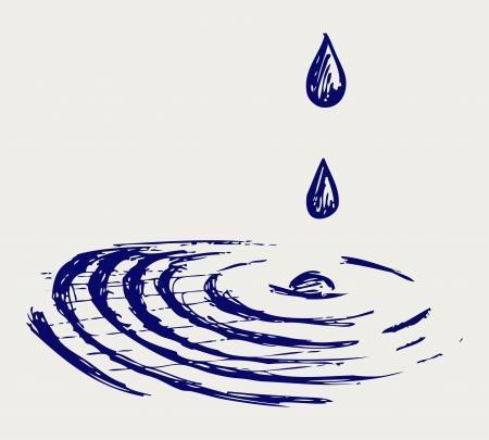 Wassertropfen Doodle Stil