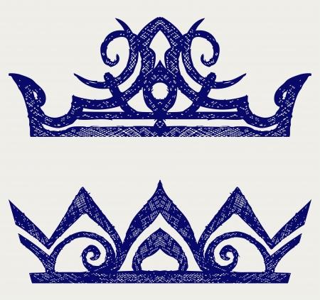 king caricature: Crown estilo Doodle