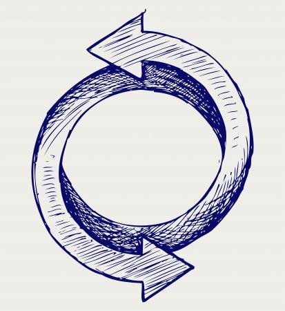 cíclico: Flechas del estilo del Doodle círculo Vectores