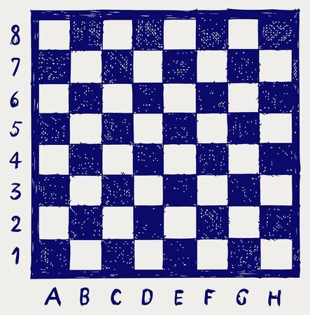 gamers: Chessboard with letters and numbers. Doodle style Illustration