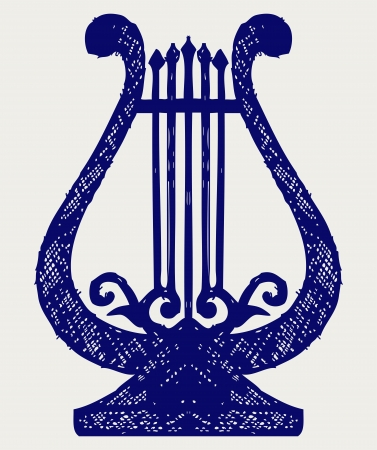 Illustration of lyre. Doodle style Vector