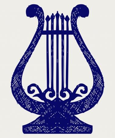 lyra: Illustration of lyre. Doodle style Illustration