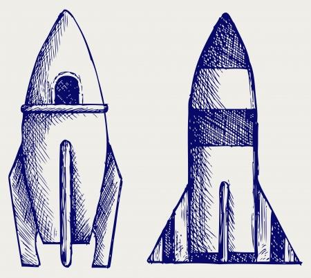 edgy: Retro rocket. Doodle style