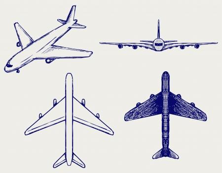 plane landing: Jets symbols. Doodle style Illustration