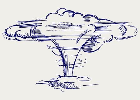 Explosion atomique. Le style Doodle Vecteurs