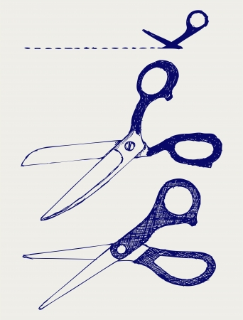 Cutting scissors. Doodle style Stock Vector - 16248580