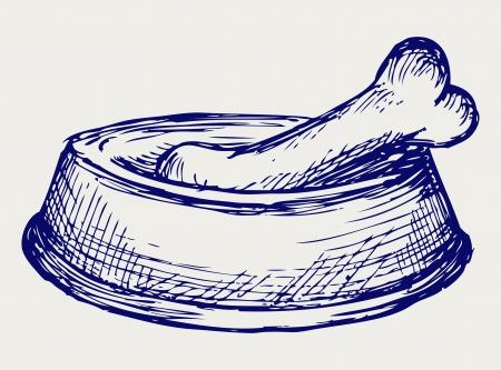 fodder: Dog dish and bone. Doodle style Illustration