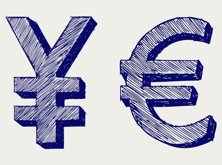 collapsing: Yen and euro. Doodle style