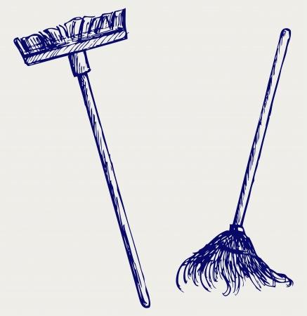 dweilen: Mop en bezem. Doodle stijl Stock Illustratie