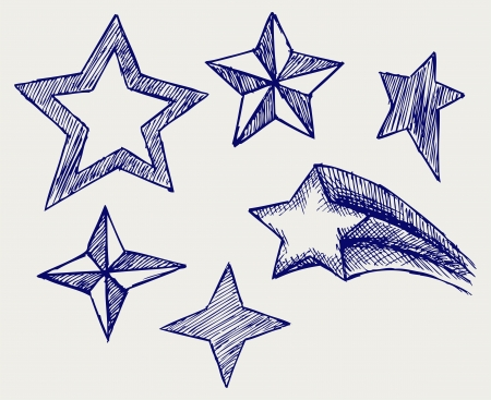 Star icons. Doodle style Stock Vector - 16381558