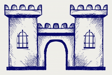 stronghold: Ancient fortress. Doodle style Illustration