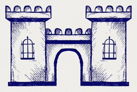 古代の要塞。落書きスタイル