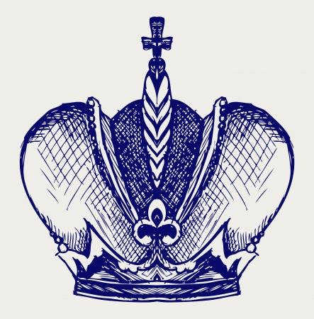 rey caricatura: Corona. Estilo Doodle Vectores