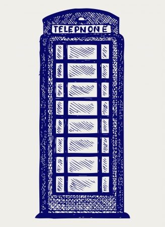 phonebooth: London pay phone. Doodle style Illustration