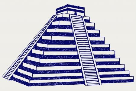 cultura maya: Chichén Itzá. Estilo Doodle Vectores