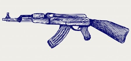 Assault rifle ak47. Doodle style Stock Vector - 16381561