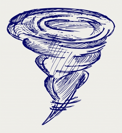 cyclonic: Tornado. Doodle style Illustration