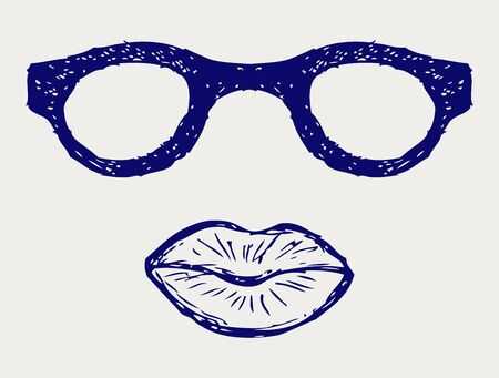 simple girl: Glasses and lips silhouettes. Doodle style