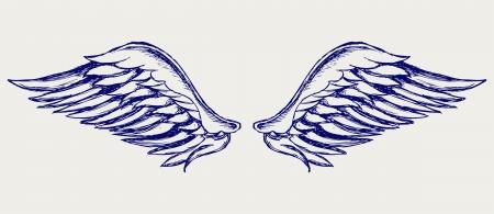 paloma caricatura: Alas de ángel. Estilo Doodle