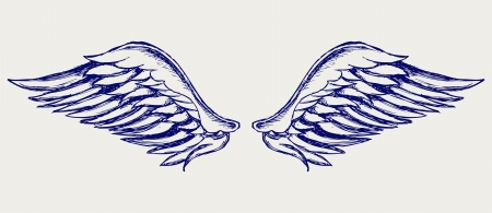 angels: Angel wings. Doodle style