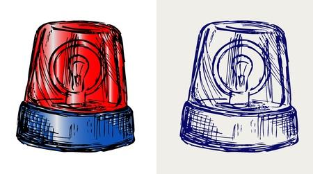 policia caricatura: Luz intermitente. Estilo Doodle