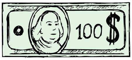 Hundred dollar bill  Doodle style Vector