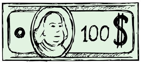 paying bills: Hundred dollar bill  Doodle style