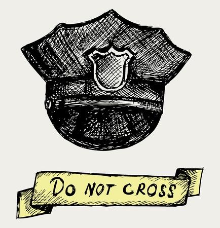 policia caricatura: Polic�a tapa Doodle estilo