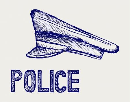 police line: Police cap  Doodle style Illustration