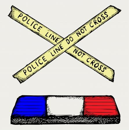policia caricatura: Flashing polic�a y el estilo de cinta Doodle Vectores