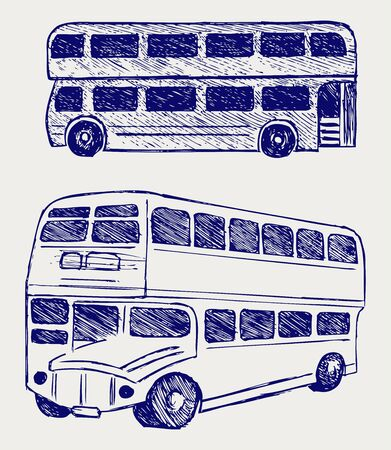 London city bus. Doodle style Vector