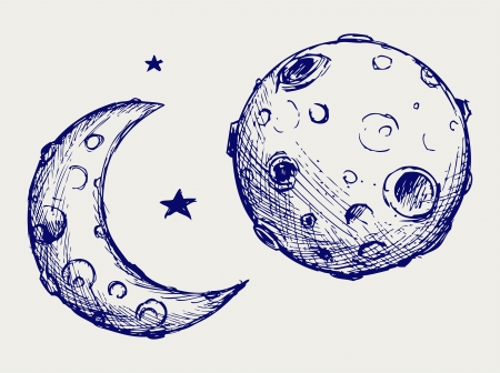 Moon and lunar craters. Doodle style Vector