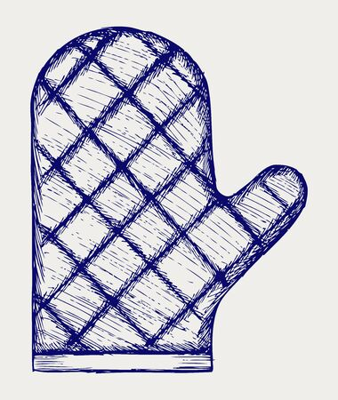 pot holder: Kitchen glove. Doodle style