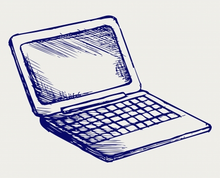 Netbook. Doodle style Vector