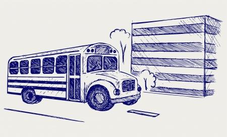 public school: School bus. Doodle style
