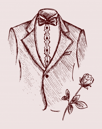 simple flower: Tuxedo shirt and bowtie. Doodle style