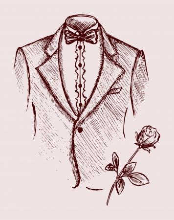 style: Tuxedo shirt and bowtie. Doodle style