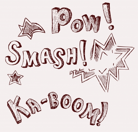 kaboom: Sound effects. Doodle style Illustration