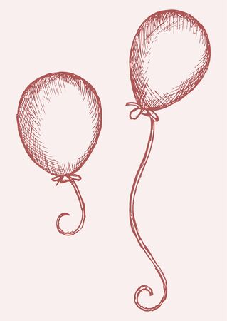 balloons party: Illustration balloon. Doodle style