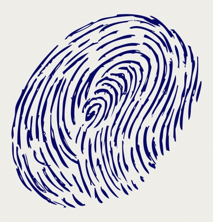 theft proof: Finger print. Doodle style